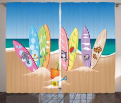 Hayvan Sörf Tahtaları Fon Perde Kumsal
