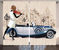 Keman Çalan Kız Desenli Fon Perde Klasik Otomobil