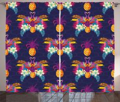 Tukan Kuşu ve Ananas Fon Perde Dekoratif