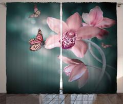 Pembe Orkide ve Kelebekler Fon Perde Romantik