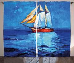 Denizdeki Yelkenli Gemi Fon Perde Yağlı Boya Mavi