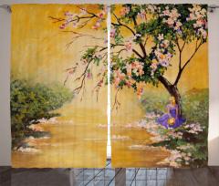 Ağaç Altında Oturan Kız Fon Perde Çiçek Doğa Şık