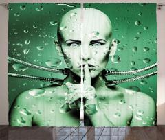 Su Altı Robotu Kız Fon Perde Teknolojik Yeşil