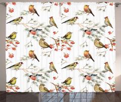 Daldaki Sevimli Kuşlar Fon Perde Dekoratif Şık
