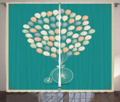 Retro Bisiklet ve Balonlar Fon Perde Romantik