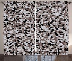 Siyah ve Kahverengi Üçgenler Fon Perde Geometrik