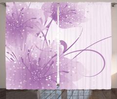 Mor Dekoratif Çiçekli Fon Perde Şık Tasarım