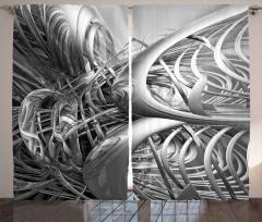 Gri Fütüristik Desenli Fon Perde 3D Etkili