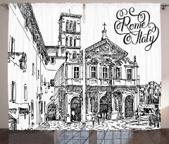 İtalya Mimarisi Desenli Fon Perde Siyah Beyaz