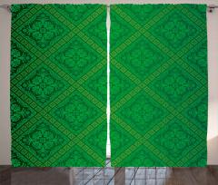 Yeşil Duvar Kağıdı Desenli Fon Perde Dekoratif