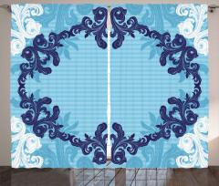 Dekoratif Çiçek Desenli Fon Perde Mavi Beyaz Şık