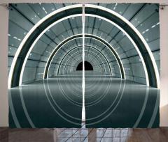 3D Koridor Desenli Fon Perde Teknolojik Gri