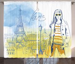 Paris'in Modacı Kızı Fon Perde Sarı Mavi Eyfel