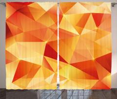 Turuncu Üçgen Desenli Fon Perde Geometrik Şık