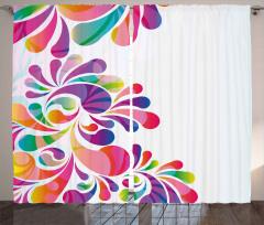 Rengarenk Çiçekler Fon Perde Dekoratif Şık