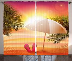 Şemsiyeli Plajda Gün Batımı Fon Perde Turuncu