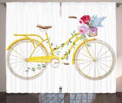 Çiçekli Sepetli Sarı Bisiklet Fon Perde Dekoratif