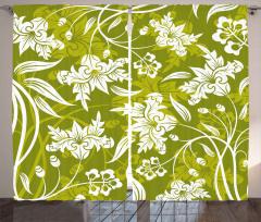 Romantik Dekoratif Çiçekler Fon Perde Yeşil Beyaz