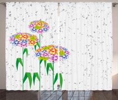Rengarenk Kır Çiçekleri Fon Perde Dekoratif Şık