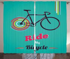 Retro Bisiklet Desenli Fon Perde Dekoratif Şık