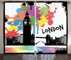 Londra Manzarası Desenli Fon Perde Dekoratif