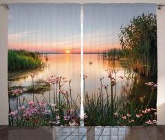 Göl Çiçekleri Fon Perde Gün Batımı Dekoratif