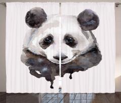 Sevimli Panda Desenli Fon Perde Sulu Boya Şık