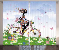 Çiçekli Bisikletli Kız Fon Perde Kelebek Gökyüzü