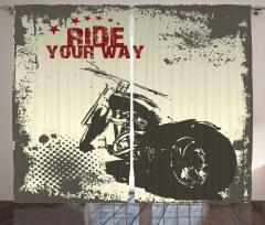 Nostaljik Motosiklet Fon Perde Şık Tasarım Bej
