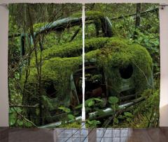 Yosun Kaplı Eski Araba Fon Perde Yeşil Orman