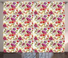 Kırmızı ve Mor Çiçekler Fon Perde Kuş Çeyizlik