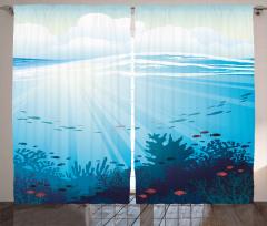 Dalgalı Denizdeki Balıklar Fon Perde Mercan Mavi
