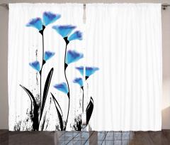 Mavi Dekoratif Çiçekler Fon Perde Çeyizlik Şık