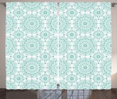 Turkuaz Mandala Desenli Fon Perde Dekoratif Şık
