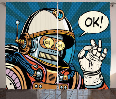 Retro Astronot Desenli Fon Perde Uzay Bilim