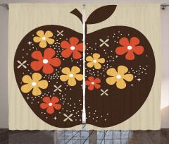 Kahverengi Elma Desenli Fon Perde Çiçek Bej