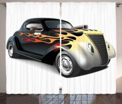 Siyah Şık Araba Desenli Fon Perde Beyaz Fonlu