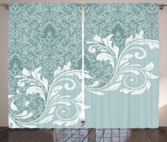 Turkuaz Beyaz Çiçek Desenli Fon Perde Dekoratif