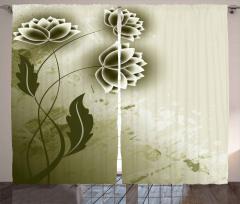 Bej Çiçek Desenli Fon Perde Dekoratif Trend