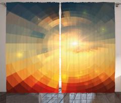 Turuncu Sarı Işık Tüneli Fon Perde Geometrik