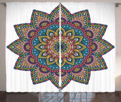 Şık İşlemeli Mandala Çiçeği Fon Perde Dekoratif