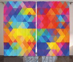 Rengarenk Eşkenar Dörtgenler Fon Perde Üçgen Şık