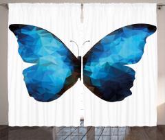 Mavi Siyah Kelebek Desenli Fon Perde Geometrik