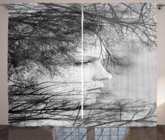 Kadın Portresi ve Ağaçlar Fon Perde Siyah Gri