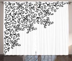 Siyah Beyaz Dekoratif Çiçekler Fon Perde Şık