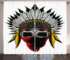 Kızılderili Kuru Kafa Desenli Fon Perde Maskeli
