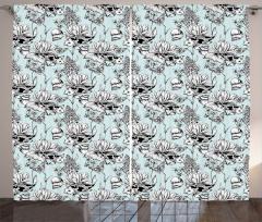 Kelebek Balık ve Çiçek Fon Perde Siyah Mavi Beyaz