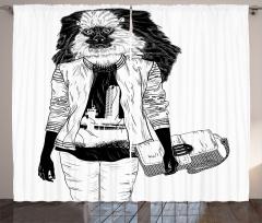 Stil İkonu Maymun Desenli Fon Perde Siyah Beyaz