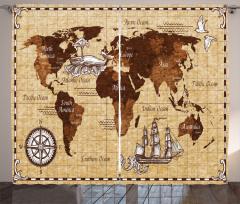 Nostaljik Dünya Haritası Fon Perde Kahverengi Kuş
