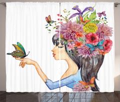 Siyah Saçlı Çiçekli Kız Fon Perde Kelebek Şık